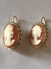 Antique Estate 14Kt Gold Set Cameo Drop Earrings