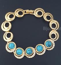 Gold Armband mit Türkis Blaue Steine 24 Karat Vergoldet Strass Goldplated Bangle