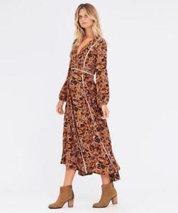 New TIGERLILY Paradis Mustard Floral Print Long Sleeve Boho Midi Dress 6