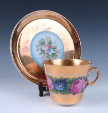 Antique Kuznetsov Russian Imperial Porcelain Oversize Cup & Saucer Gold Roses