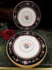 """6 Antique Royal Doulton BLACK FLORAL 10 3/8""""D Plates Lion Mark1902-1932 England!"""