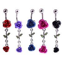 Cg_ 1Pc Women Dual Rose Flower Belly Button Navel Ring Body Piercing Jewelry Eye