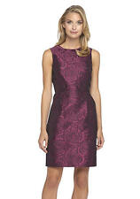 Tahari Sleeveless Rose Floral Jacquard Embossed Cocktail Sheath Dress Sz 16