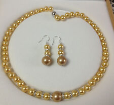 8-12mm Golden South Sea Shell Pearl Round Beads Necklace + Earrings Jewelry Set