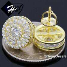 Diamond Gold Screw Back Stud Earring*Ge174 Men 925 Sterling Silver 12Mm Lab