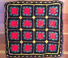 vtg Crochet THROW PILLOW Rose Flower Granny Square Brown Red Rose Retro 18 x 18