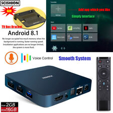 SCISHION AI ONE TV Box Andriod 8.1 Voice Control Bluetooth WIFI+Bracket 2GB+16GB