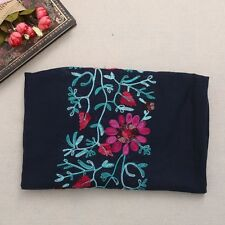 Women Large Embroidered Cotton Linen Floral Scarf Pashmina Shawl Wrap Scarves