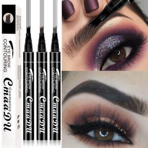 4 Tip Waterproof Eyebrow Microblading Ink Pen Tattoo 3D Fork Makeup Pencil Liner