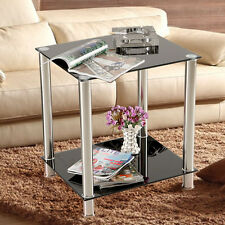 Black Square Glass Coffee Table Side End Lamp Table 2-Tiers Small Display Stand