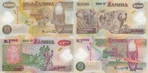 Zambia 2 Note Set: 500 & 1000 Kwacha (2005) - p43d, p44d Polymer Pair UNC