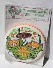 Cat-Kitten Vintage Party Place Set of 12 Absorbent Coasters Kimberly Clark Hippy