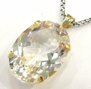 SYJEWELLERY HUGE 9CT SOLID YELLOW GOLD 12CT OVAL WHITE TOPAZ PENDANT   P822