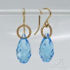 "● STRAHLEND ●  Kristall Ohrringe in ""Aquamarin / Topaz"" blau ygf 14k Gold 585"
