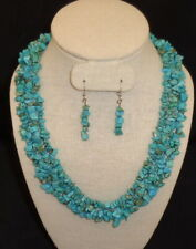 """with Matching Dangle Earrings Turquoise 16"""" Tri-Strand Necklace"""
