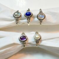 Ring Size Variation 925 Sterling Silver Moonstone LapisLazuli Gemstone Ring