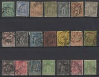 AF142210/ FRANCE – TYPE SAGE – YEARS 1877 - 1900 USED CLASSIC LOT – CV 175 $