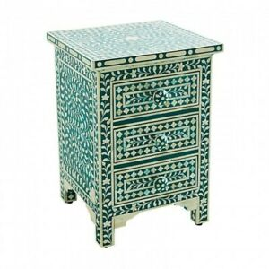 Bone inlay Teal Floral 2 drawer bedside lamp table (MADE TO ORDER)