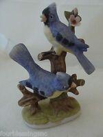 VINTAGE FLAMBRO BLUE JAY/BIRD FIGURINE-CERAMIC BISQUE ART SCULPTURE-FLOWERS-