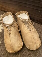 Antique C. 19th Century French Country Handmade Child Leather Moccasin Shoes