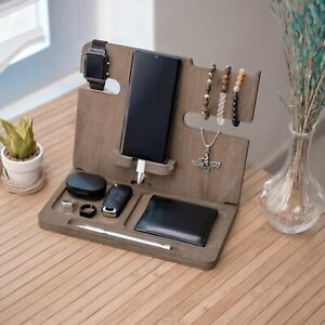Wooden Phone Stand, Docking Station, Gift For Him, Gift For Husband