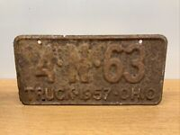 VINTAGE ORIGINAL METAL EMBOSSED OHIO LICENSE PLATE 1957