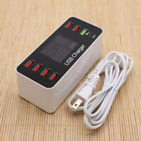 8 Ports Quick Charge 3.0 LED Display Multiple USB Charger Charging Adapter Hub