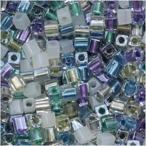 Miyuki 4mm Cube Beads Mix Lot Serenity Green Purple 10 Grams