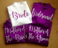 Personalised Wedding Bride Bridesmaid Maid of Honour Hen Party Satin Gowns