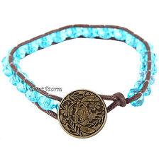 Disney Lilo & Stitch Stitch Hawaii Blue Bead Brown Cord Bracelet With Charm NEW