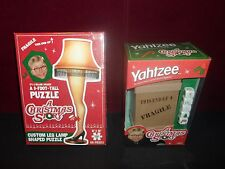 A CHRISTMAS STORY LOT YAHTZEE GAME & CUSTOM LEG LAMP SHAPED PUZZLE 500 PCS