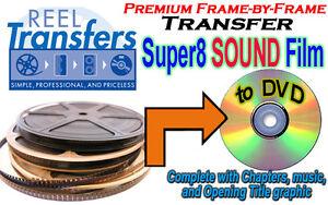 REEL TRANSFERS - Super 8 Sound film converted to DVD  - True Frame-by-Frame