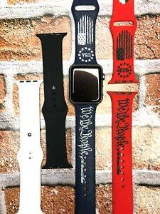 TSB Custom WE THE PEOPLE Distressed Engraved Silicone Watch Band Comp w/Apple