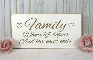 Family Gift Birthday Love Sign Free Standing Vintage Shabby & Chic