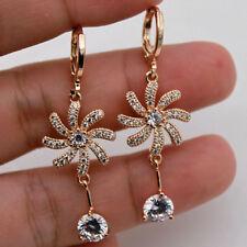 Windmill Flower Topaz Party Lady Earrings 18K Gold Filled - 1.7'' Clear Zircon