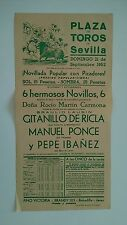 1952 Cartel Plaza de Toros Sevilla Carmona Lausin De Ricla Ponce Ibañez Triana