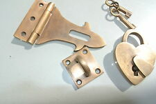 box & HEART padlock catch hasp latch vintage style BOX antiques DOOR Keys B
