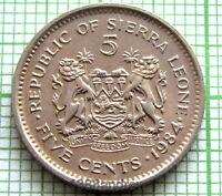SIERRA LEONE 1984 5 CENTS, Dr. SIAKA STEVENS, UNC