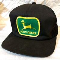 Vtg NEW! John Deere Green Patch ALL Black Mesh Snapback Trucker Hat K PRODUCTS