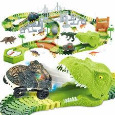 Dinosaurier Rennstrecke Set mit 174 STK Gleisblöcke 2 Auto Autorennbahn für Kind
