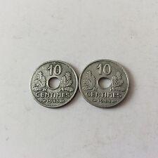2 pièces de 10 cent. Etat Français en Zinc petit Module 1943/44 TTB SUP