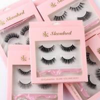 2 Pairs 3D Mink Hair Soft False Eyelashes With 1 Tweezer Wispy Natural Lashes~