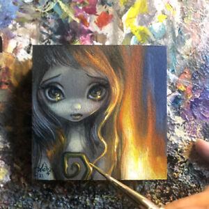 Tiny Treasure 168 Jasmine Becket-Griffith ORIGINAL PAINTING big eyes fairy art