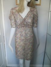 ATMOSPHERE -  BEIGE, WRAP OVER NECK, S/SLEEVED, FLORAL,DRESS SIZE 8, POLYESTER