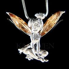 w Swarovski Crystal Lt Brown Tinkerbell Tinker Bell Fairy ANGEL Necklace Jewelry
