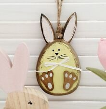 WOODEN EASTER BUNNY WHITE RABBIT HEAD EGG HUNT PRIZE TREE HANGING DECORATION