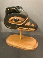Wood Carving Mask On Stand First Nations Art Painted West Coast Canada Carved