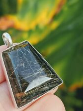 Smoky Rutilated Quartz Sterling Silver 925 Pendant for Necklace