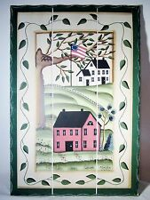 """19x13"""" Patriotic Wall Plaque Sign Picture Rustic Country Farm Houses Flag"""