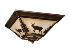 Vaxcel Flush Country Log Woods Lighting Light Burnished Bronze Bryce CC55414BBZ
